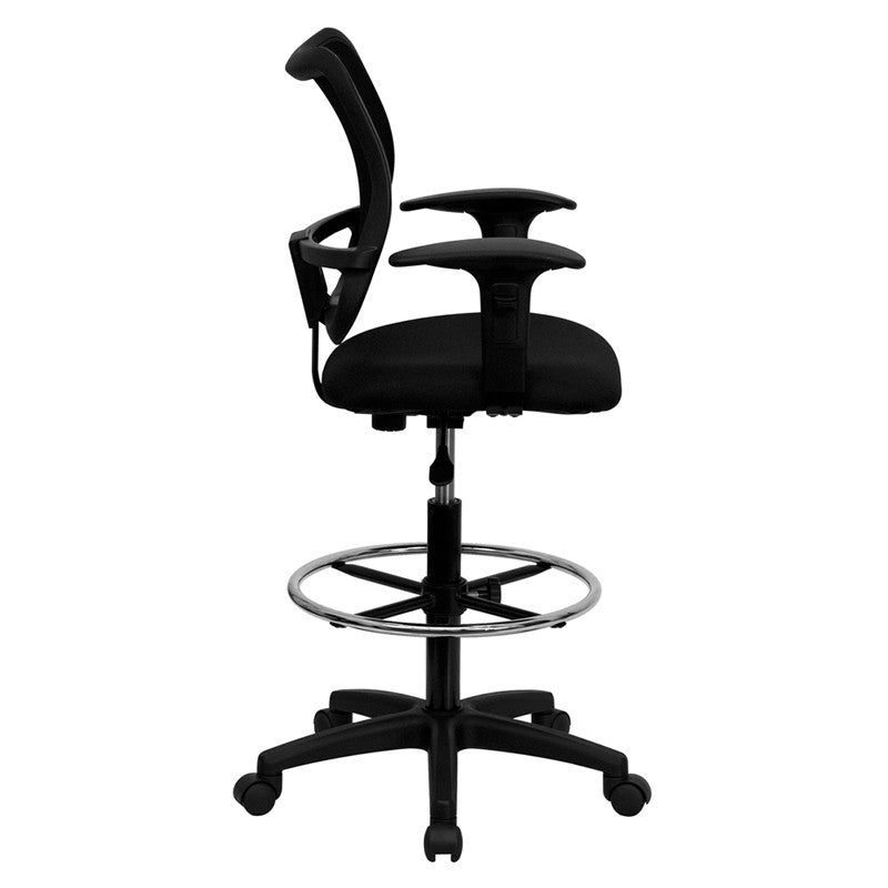 mid back mesh drafting chair with black fabric seat and height adjusta