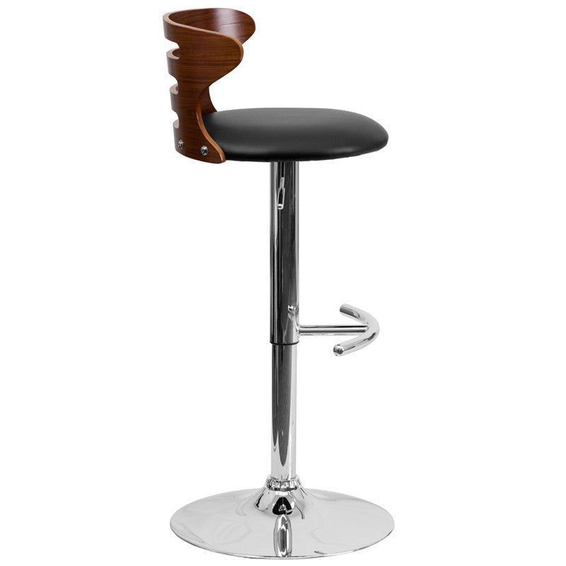 ... Walnut Bentwood Adjustable Height Barstool With Black Vinyl Seat And  Cutout Back ...