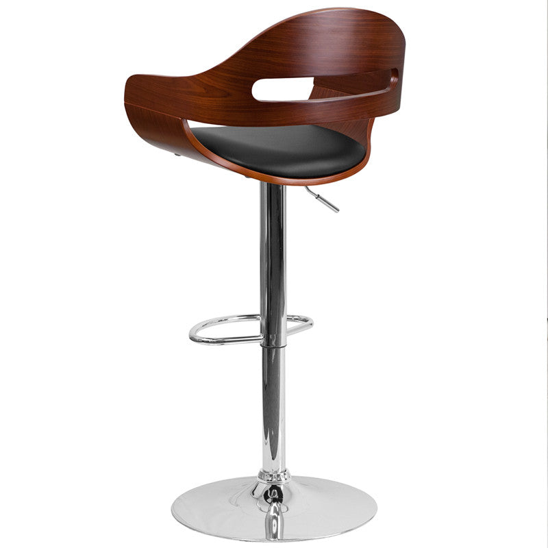 Beau Walnut Bentwood Adjustable Height Barstool With Black Vinyl Seat And Cutout  Padded Back ...