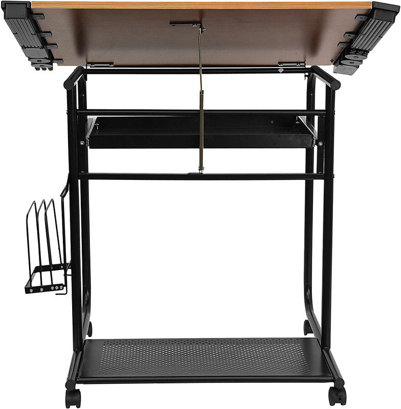 ... Adjustable Drawing And Drafting Table With Black Frame And Dual Wheel  Casters ...