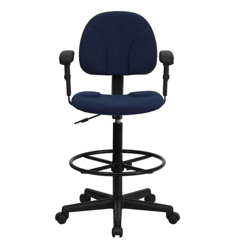 ... Navy Blue Patterned Fabric Ergonomic Drafting Chair With Height  Adjustable Arms ...