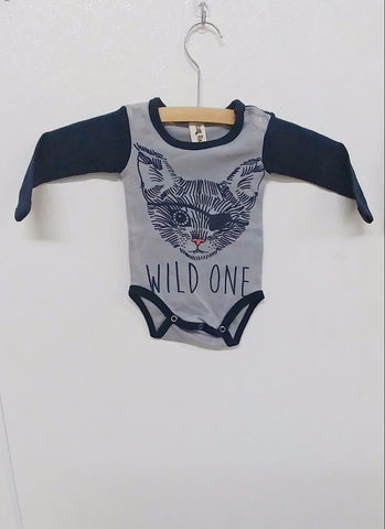 Gray and Navy Longsleeve Wild One Pirate Onesie