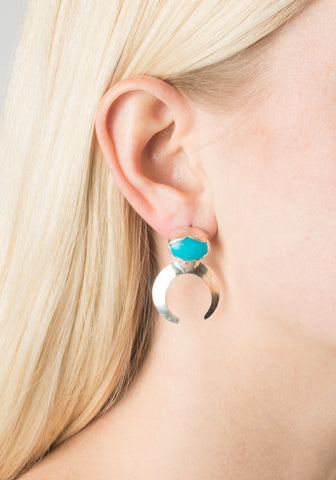 Turquoise Moon Earrings - Silver
