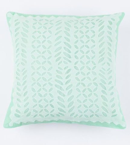 Mint Green Lines 16x16 Applique Pillow Cover