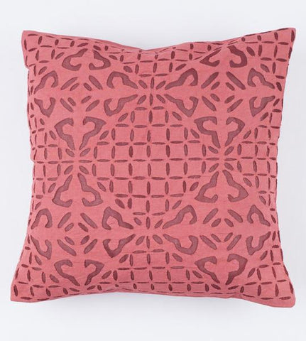 Faded Cranberry 16x16 Applique Pillow Cover
