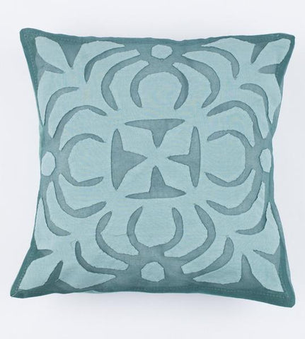 Faded Turquoise 16x16 Applique Pillow Cover