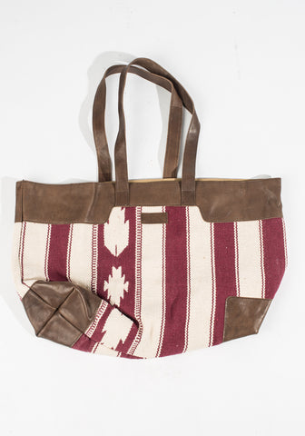 Dhurrie Bag - Red/Cream Striped Tote
