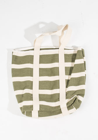 Dhurrie Bag - Green/Cream Stripes