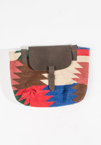 Dhurrie Purse - Red/Blue/Dark Brown/Pink/Cream