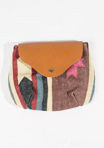 Dhurrie Purse - Black/Gray/Blue/Pink Stripe