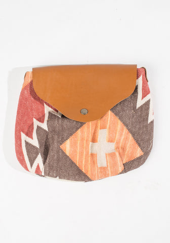 Dhurrie Purse - Gray/Red/Orange Aztec