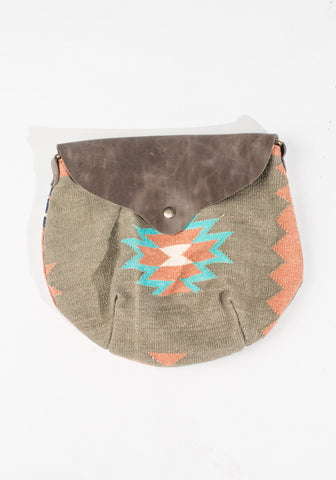 Dhurrie Purse - Gray/Pink/Blue Aztec