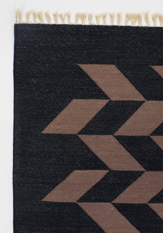 Black Herringbone Dhurrie