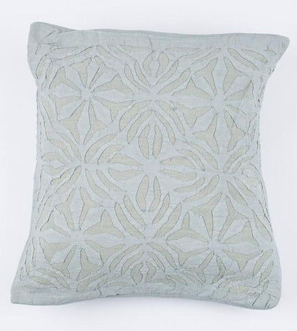 Blue Gray 16x16 Applique Pillow Cover