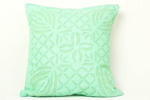 Blue Green 16x16 Applique Pillow Cover