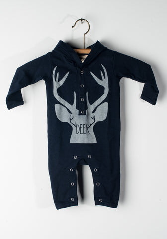 Deer Hooded Sleeper Blue
