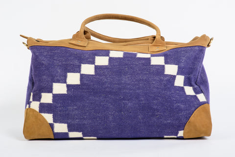 Dhurrie Overnight Bag in Dark Blue with White Squares