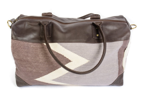 Dhurrie Overnight Bag in Gray, Tan, and Brown