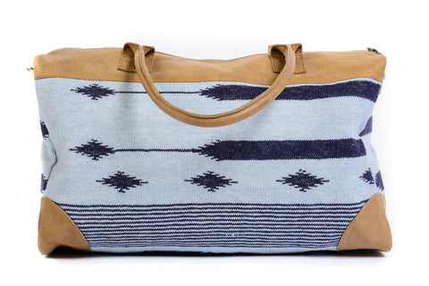Dhurrie Overnight Bag in Light Blue with Navy Design
