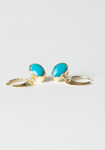 Turquoise Moon Earrings - Brass