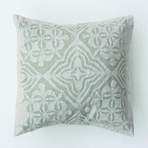 Gray Blue 16x16 Applique Pillow Cover