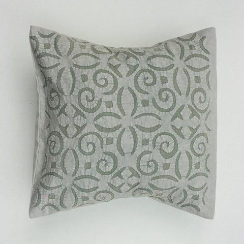 Faded Sage Flower 16x16 Applique Pillow Cover