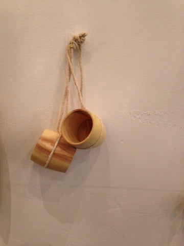 Wood Camping Cup w/ String
