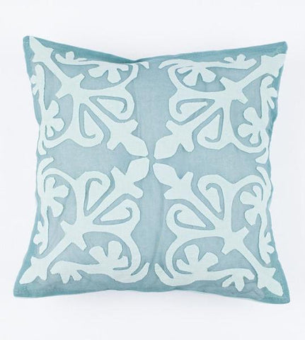 Light Turquoise 16x16 Applique Pillow Cover