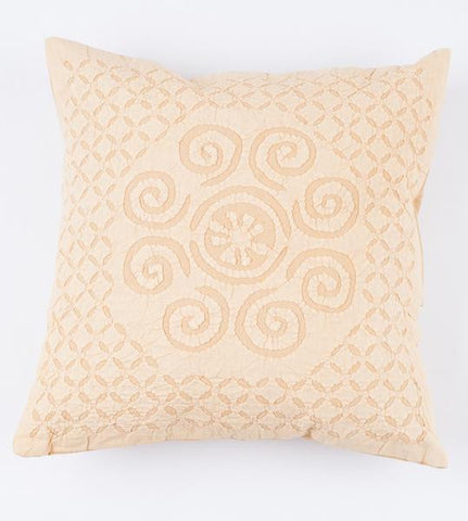 Light Yellow Swirls 16x16 Applique Pillow Cover