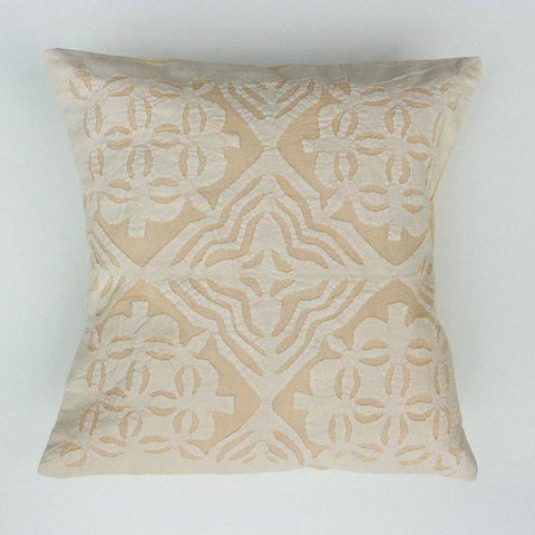 Cream 16x16 Applique Pillow Cover