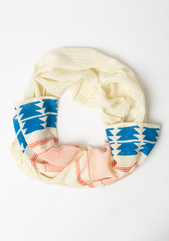 Hand Blocked Scarf - Blue Arrows