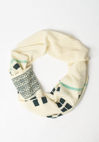 Hand Blocked Scarf - Navy + Cream