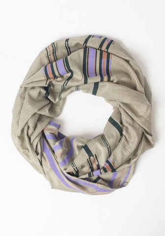 Hand Blocked Scarf - Gray + Purple Scarf