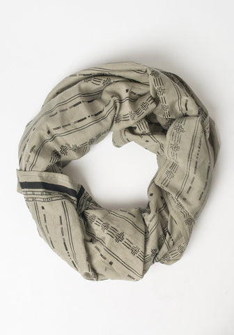 Hand Blocked Scarf - Ethnic Gray