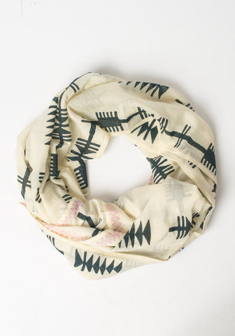 Hand Blocked Scarf - Tribal Arrows + Pink Border