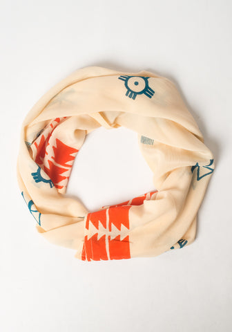 Hand Blocked Scarf - Orange + Cream