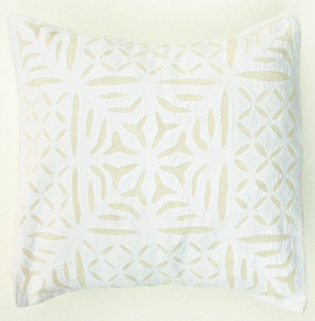 Cream Flower in a Square 16x16 Applique Pillow Cover