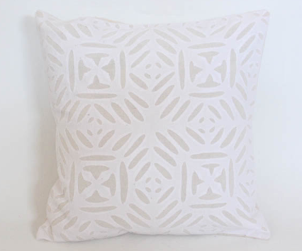 Four Squares Cream 16x16 Applique Pillow Cover