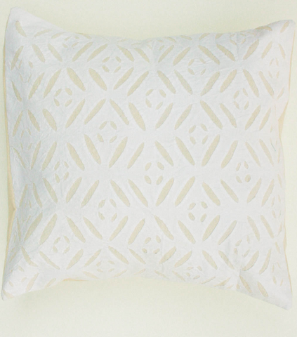 Cream Little Lines 16x16 Applique Pillow Cover