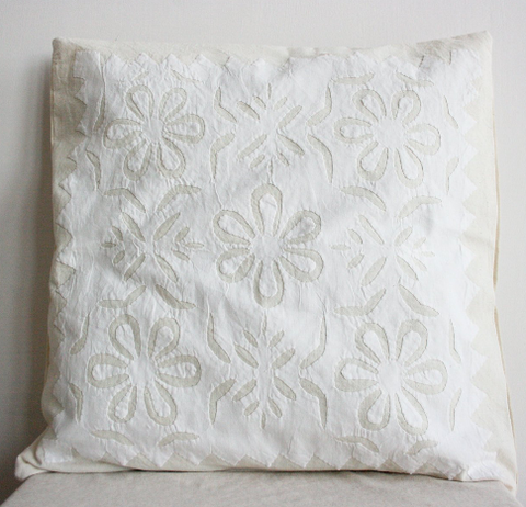 Cream Flower with Border 16x16 Applique Pillow Cover