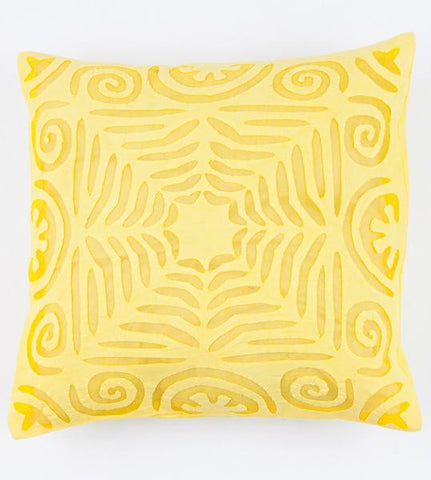 Bright Yellow 16x16 Applique Pillow Cover