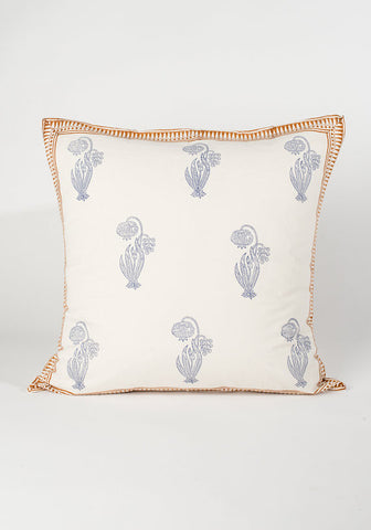 Blue Bell Flower Hand Blocked Pillow
