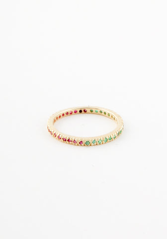 Ruby+emerald micropave eternity band