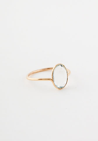 Aquamarine Flush Gold Ring