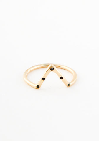 Five black diamond triangle ring
