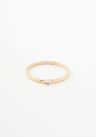 Hammered Delicate Solitaire Ring