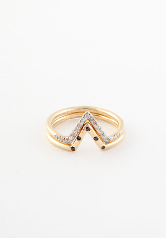 Micropave diamond triangle ring