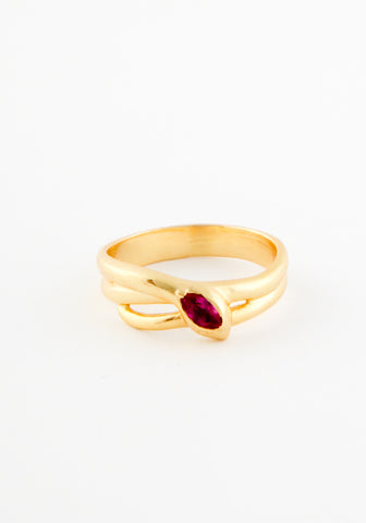 Double Ruby snake ring