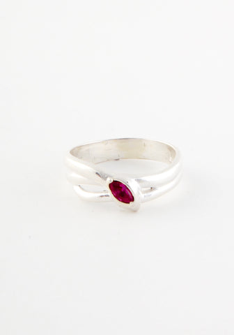 Double silver ruby snake ring