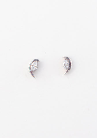 Half crescent diamond studs